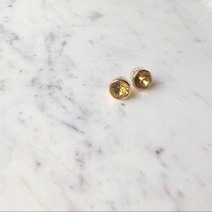 NWT Kate Spade Round Bezel Gold Stud Earrings